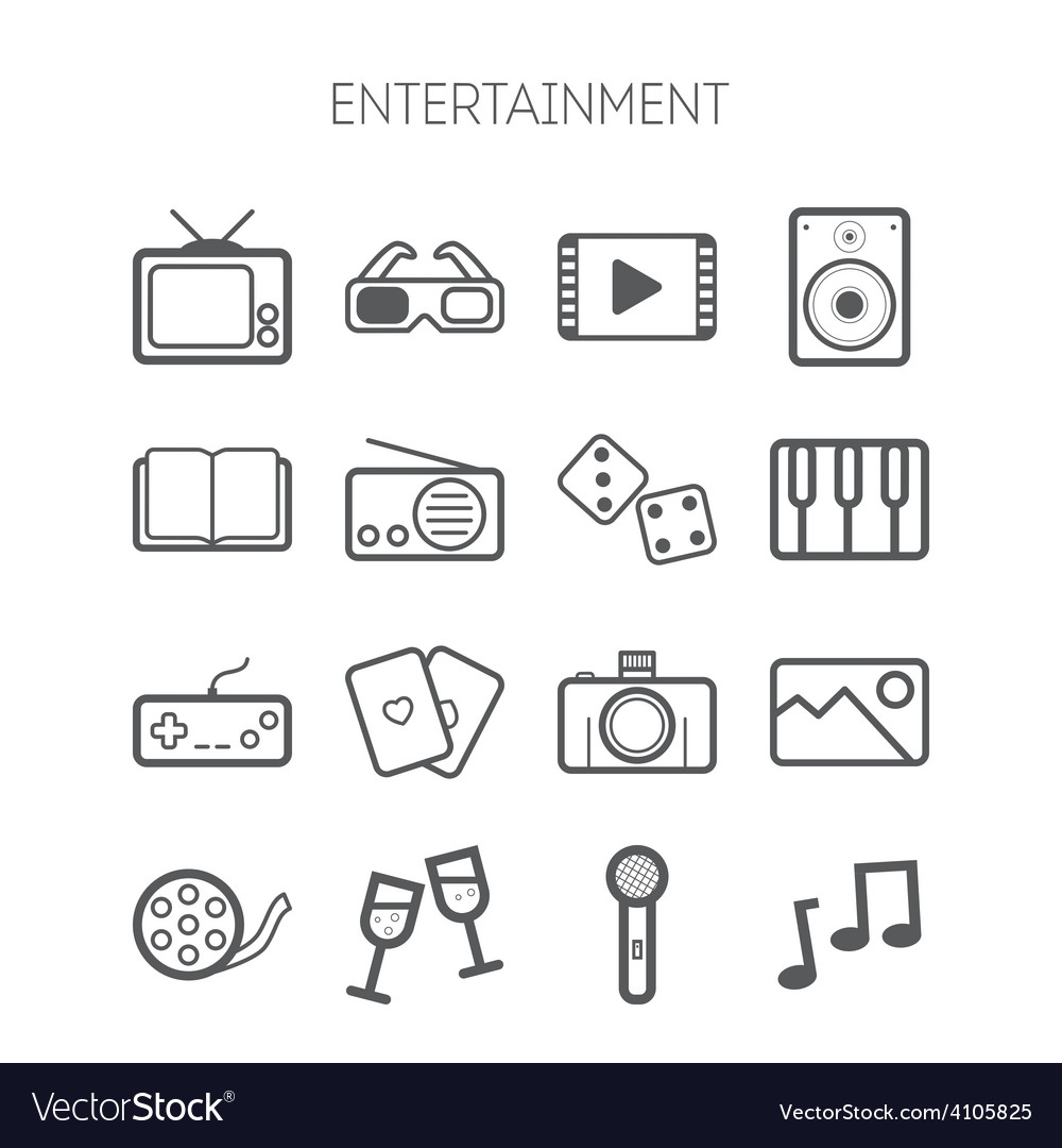 Set of simple monochromatic entertainment icons vector | Price: 1 Credit (USD $1)
