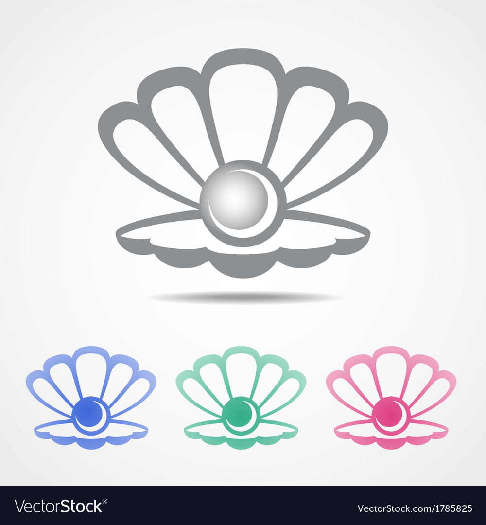 Shell icon with a pearl in different colors vector | Price: 1 Credit (USD $1)