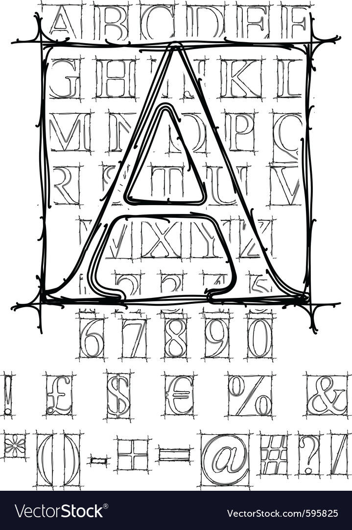 Sketch alphabet vector | Price: 1 Credit (USD $1)
