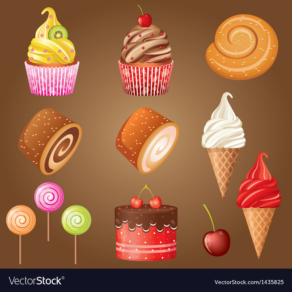 Sweet pastry set vector | Price: 3 Credit (USD $3)