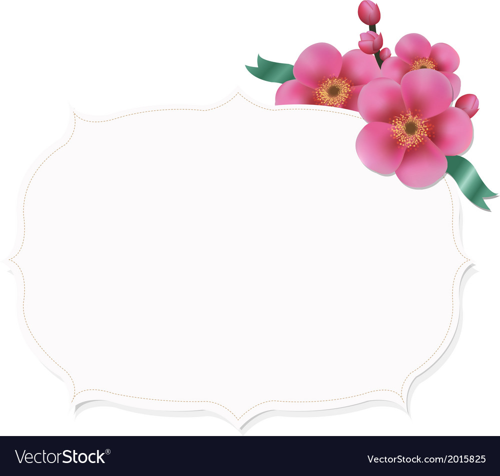 Vintage label with sakura flower vector | Price: 1 Credit (USD $1)
