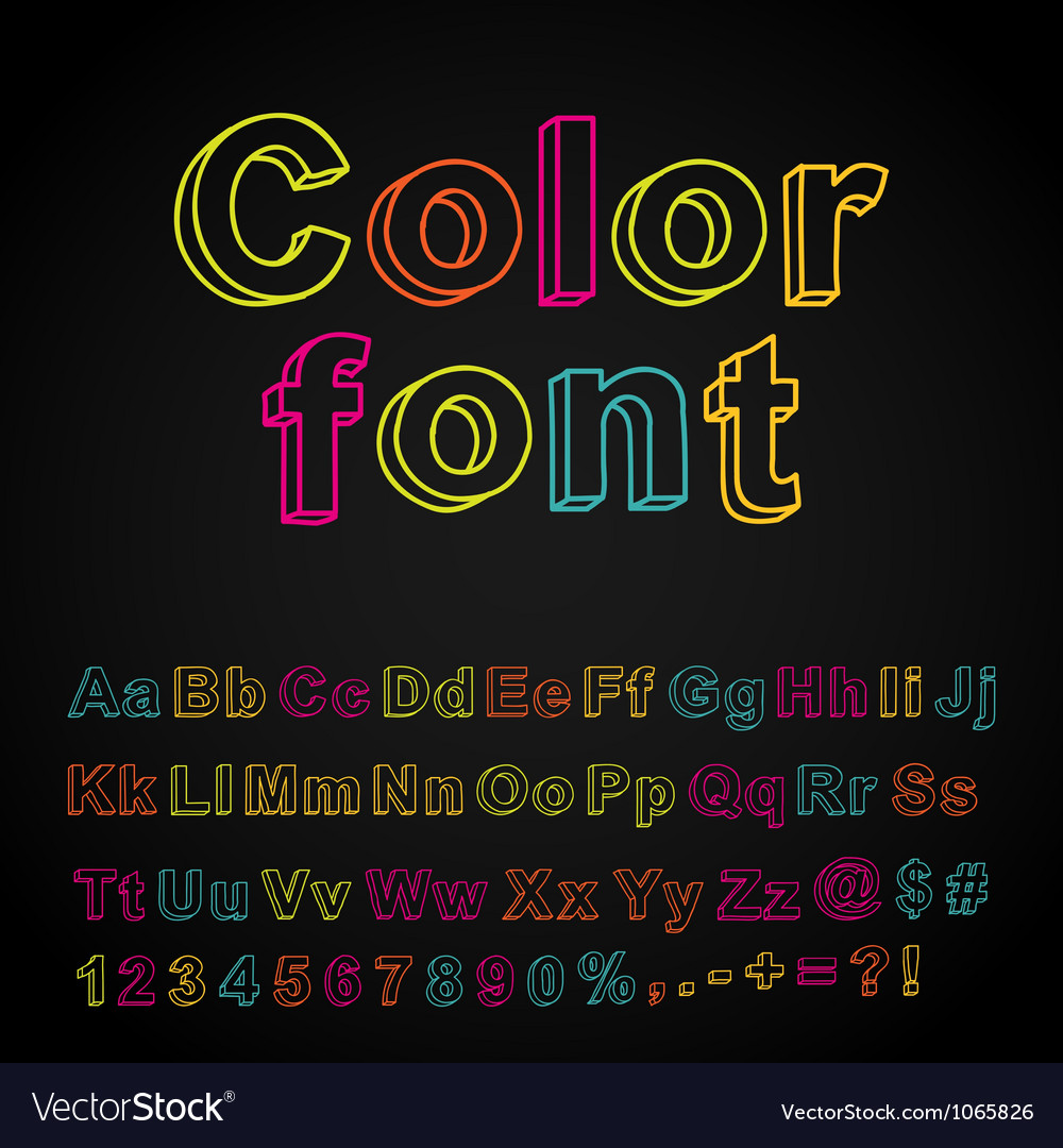 Abstract color hand drawing font vector | Price: 1 Credit (USD $1)