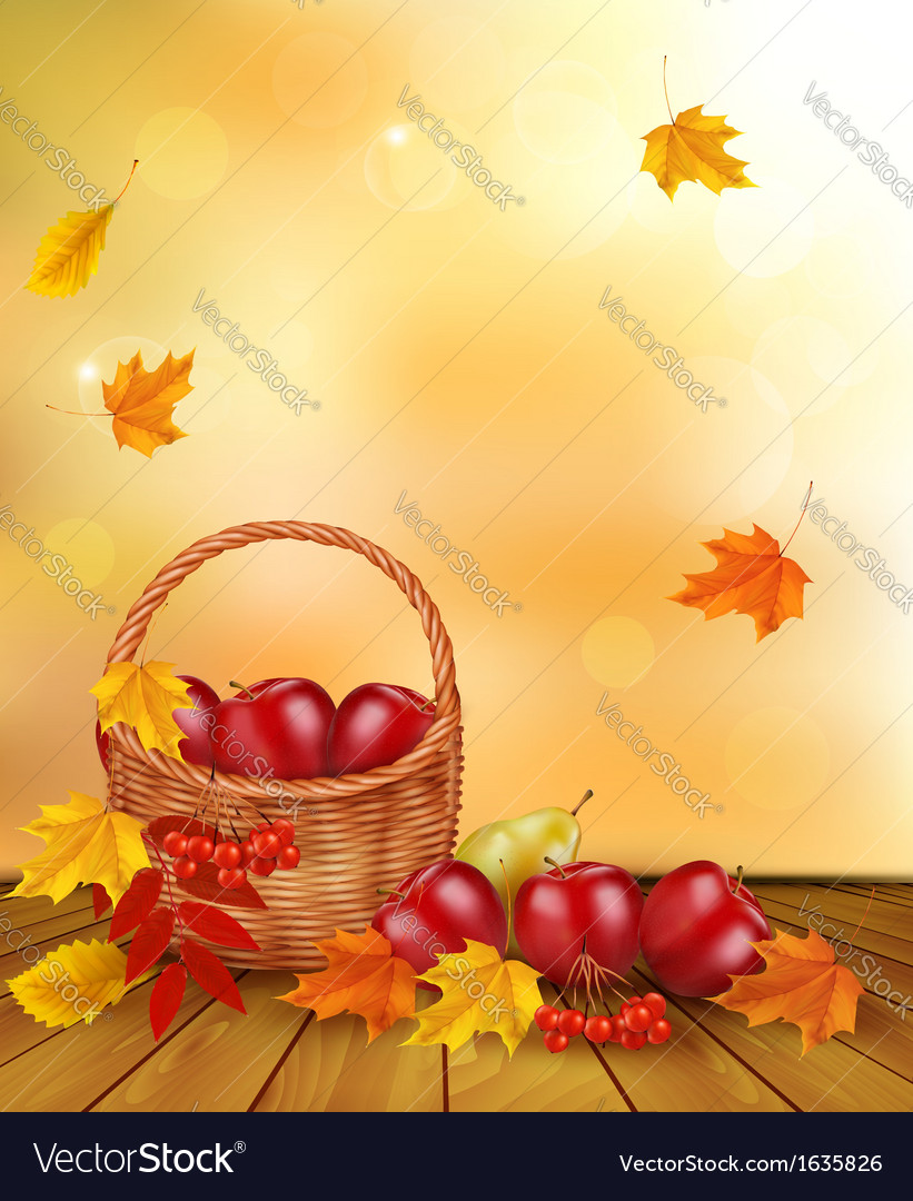 Autumn background with fresh fruit in basket vector | Price: 1 Credit (USD $1)