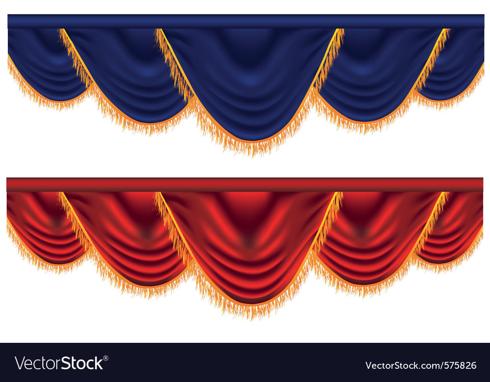Blue and red curtains vector | Price: 1 Credit (USD $1)