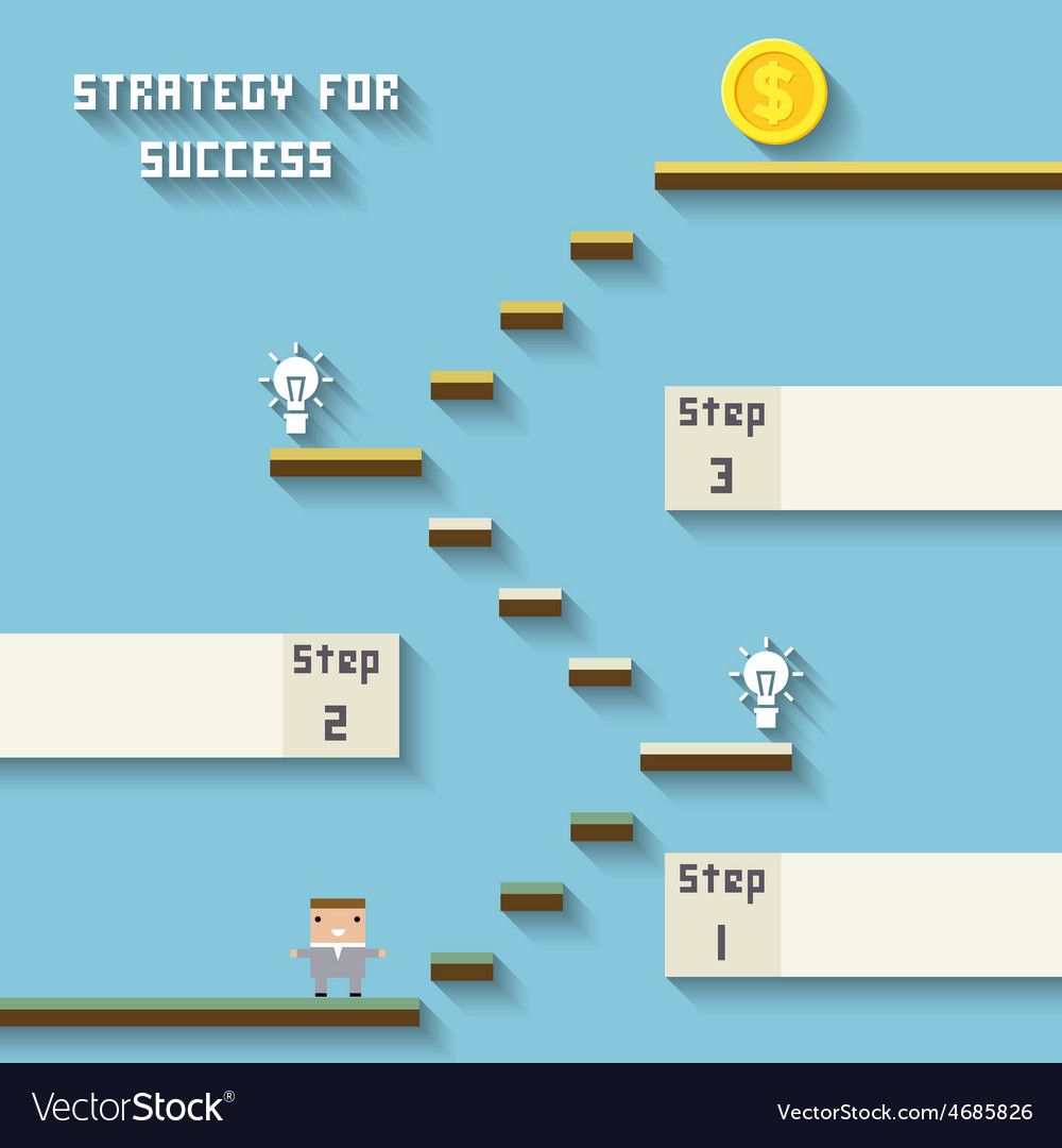 Business like a game on blue strategy for sucess vector | Price: 1 Credit (USD $1)