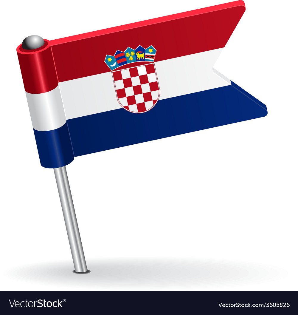 Croatian pin icon flag vector | Price: 1 Credit (USD $1)