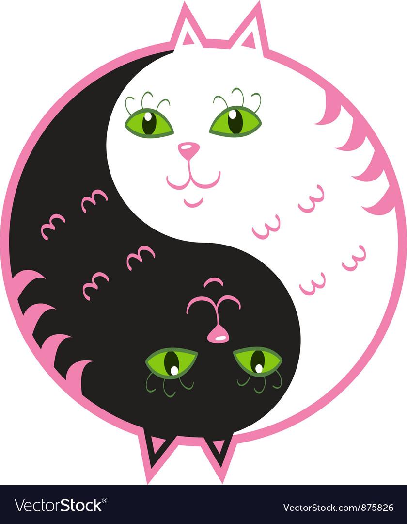 Cute cats yin yang vector