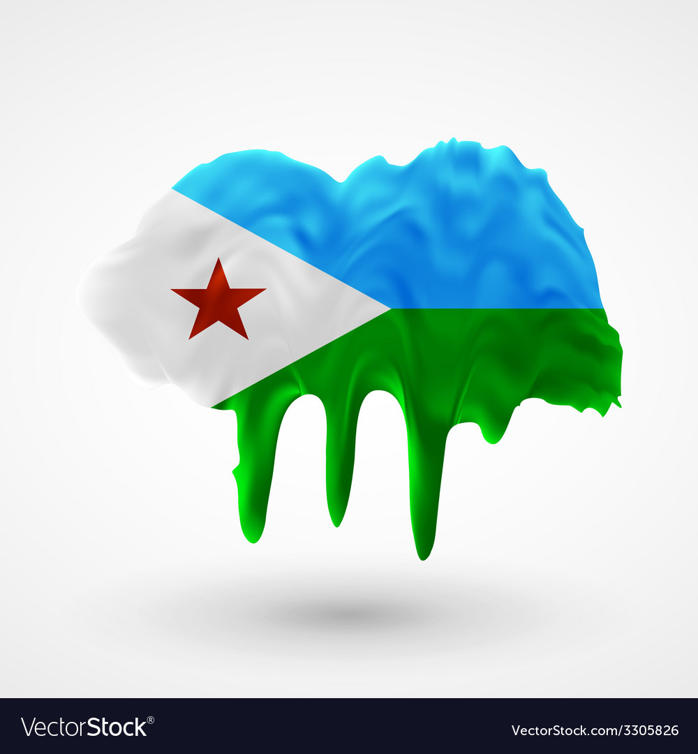 Flag of djibouti painted colors vector | Price: 1 Credit (USD $1)