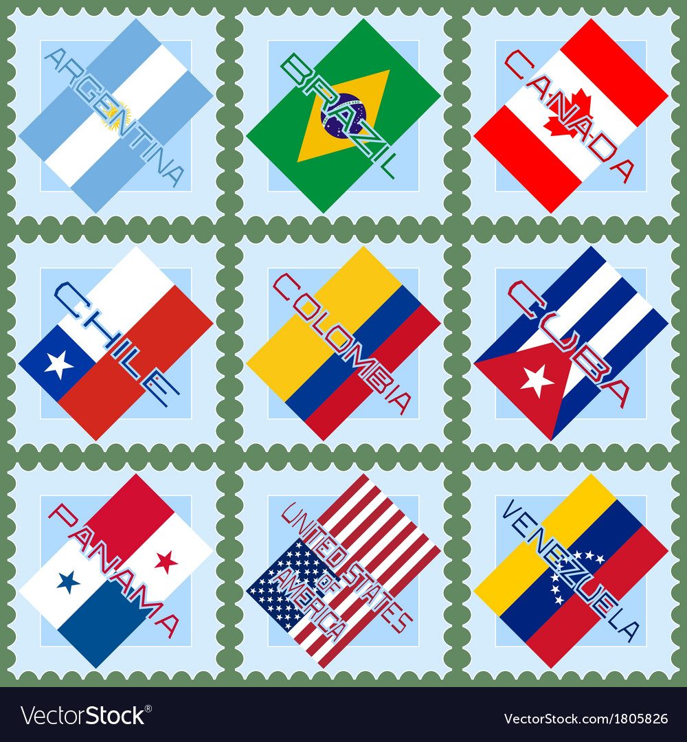 Flags of the countries of south and north america vector | Price: 1 Credit (USD $1)