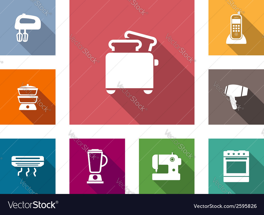Flat home appliances icons vector | Price: 1 Credit (USD $1)