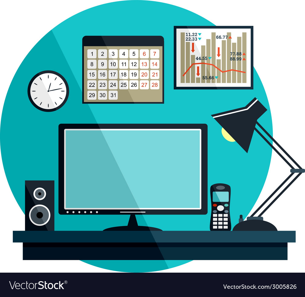 Flat with office things vector | Price: 1 Credit (USD $1)