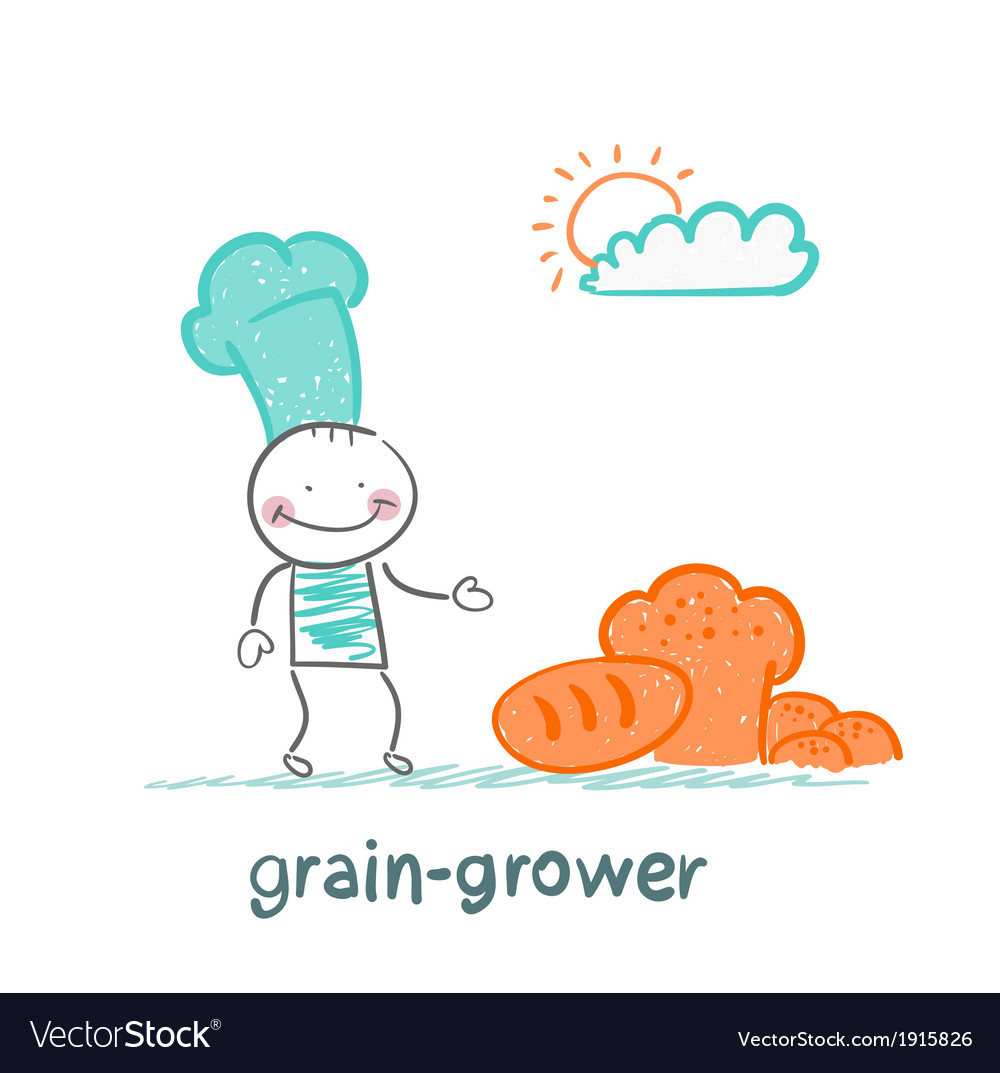 Grain grower thinks about bread vector | Price: 1 Credit (USD $1)