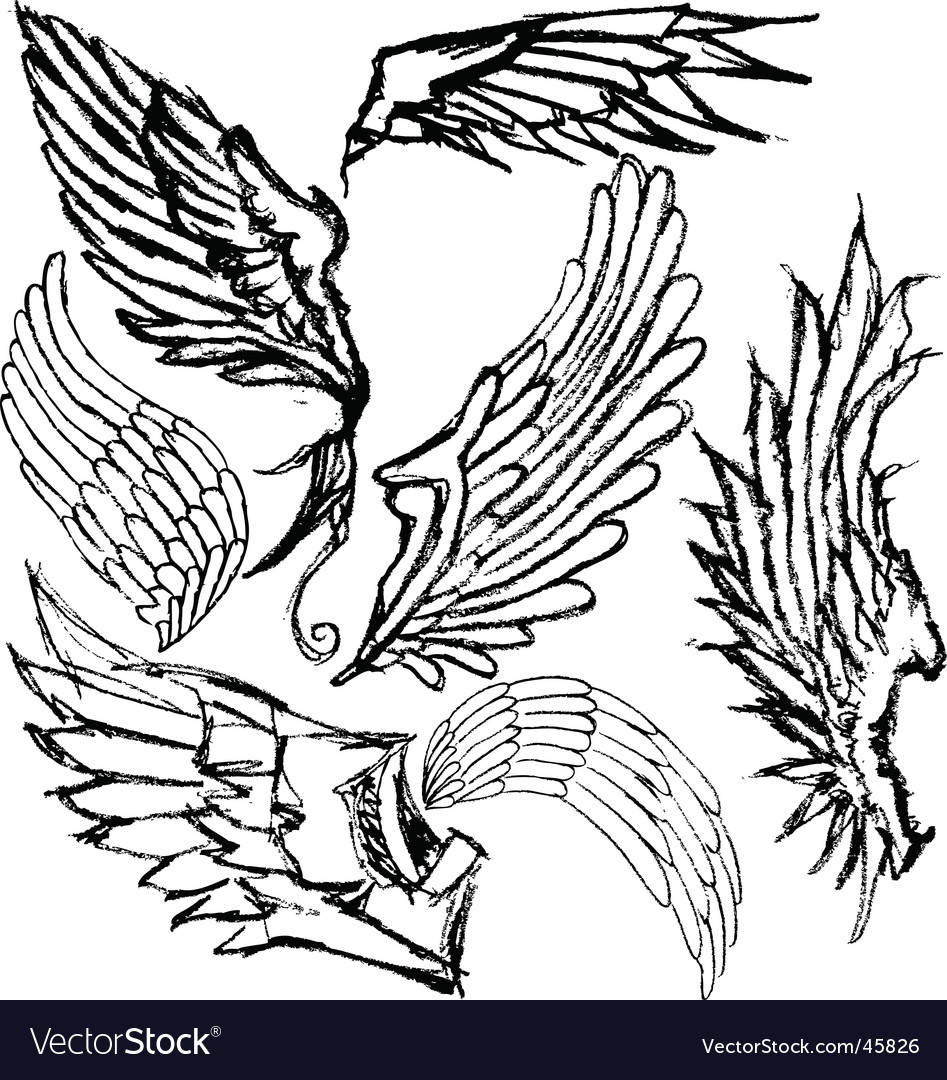 Hand-drawn wings vector | Price: 1 Credit (USD $1)