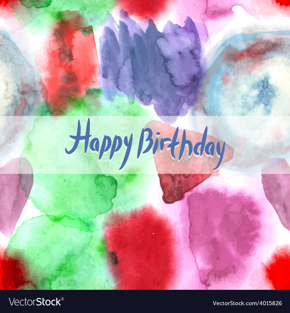 Happy birthday card abstract watercolor art hand vector | Price: 1 Credit (USD $1)