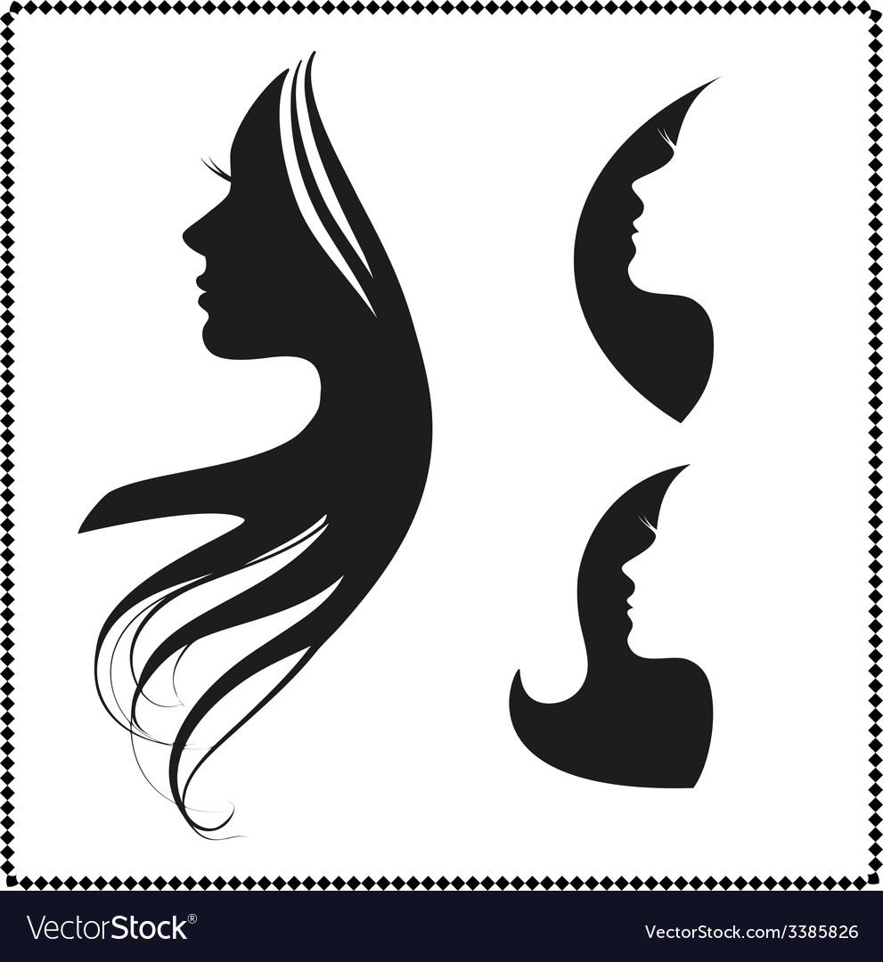 Icon silhouette of a girl with long hair vector | Price: 1 Credit (USD $1)