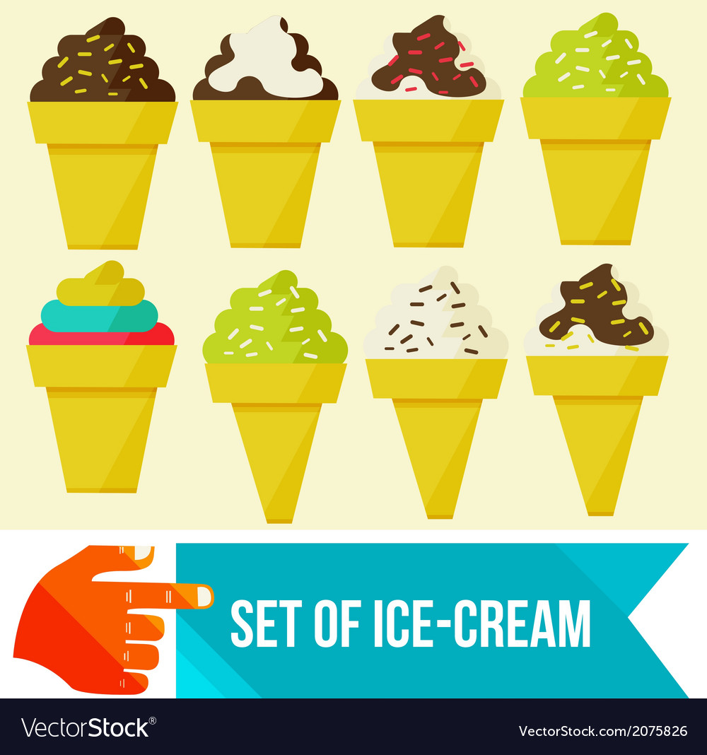 Set of ice cream in waffle cup vector | Price: 1 Credit (USD $1)