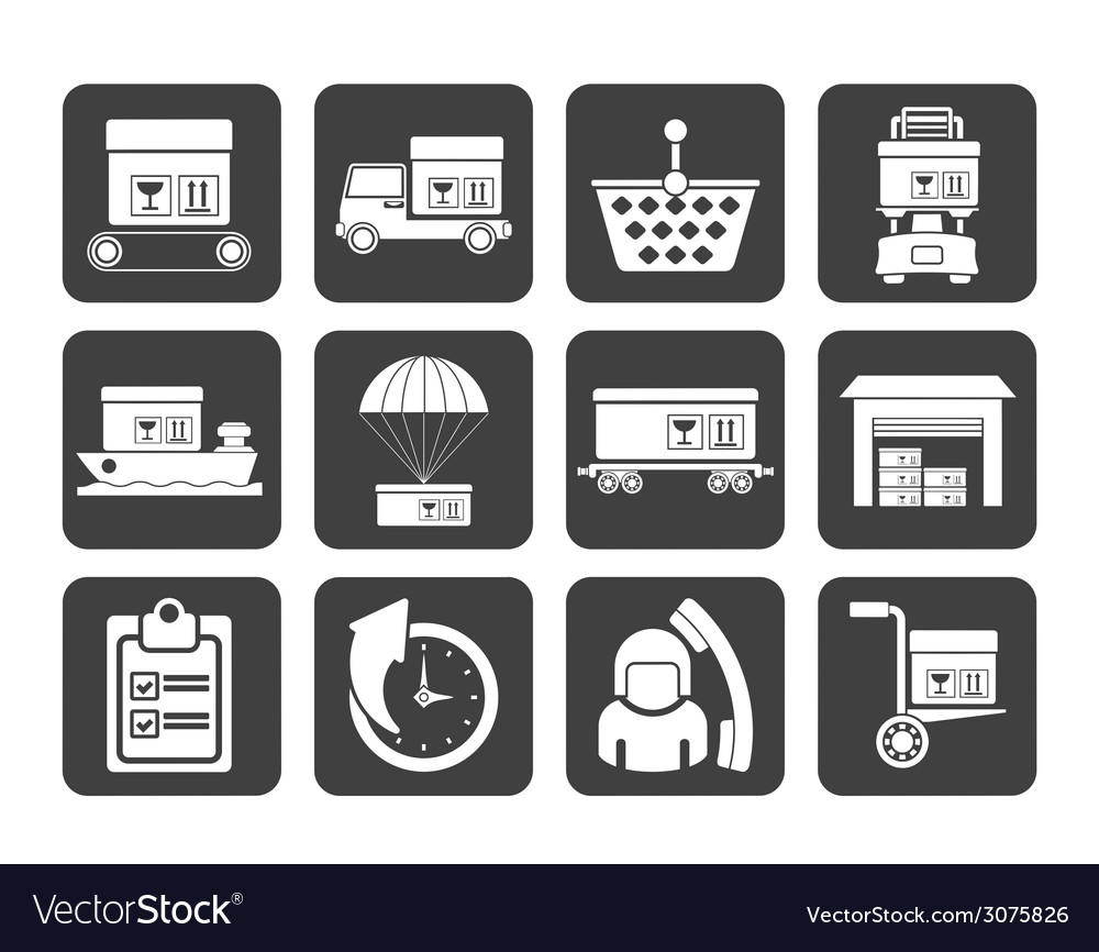 Silhouette logistic and shipping icons vector | Price: 1 Credit (USD $1)