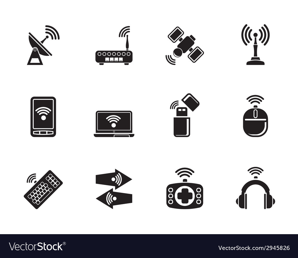 Silhouette wireless and communication technology vector | Price: 1 Credit (USD $1)