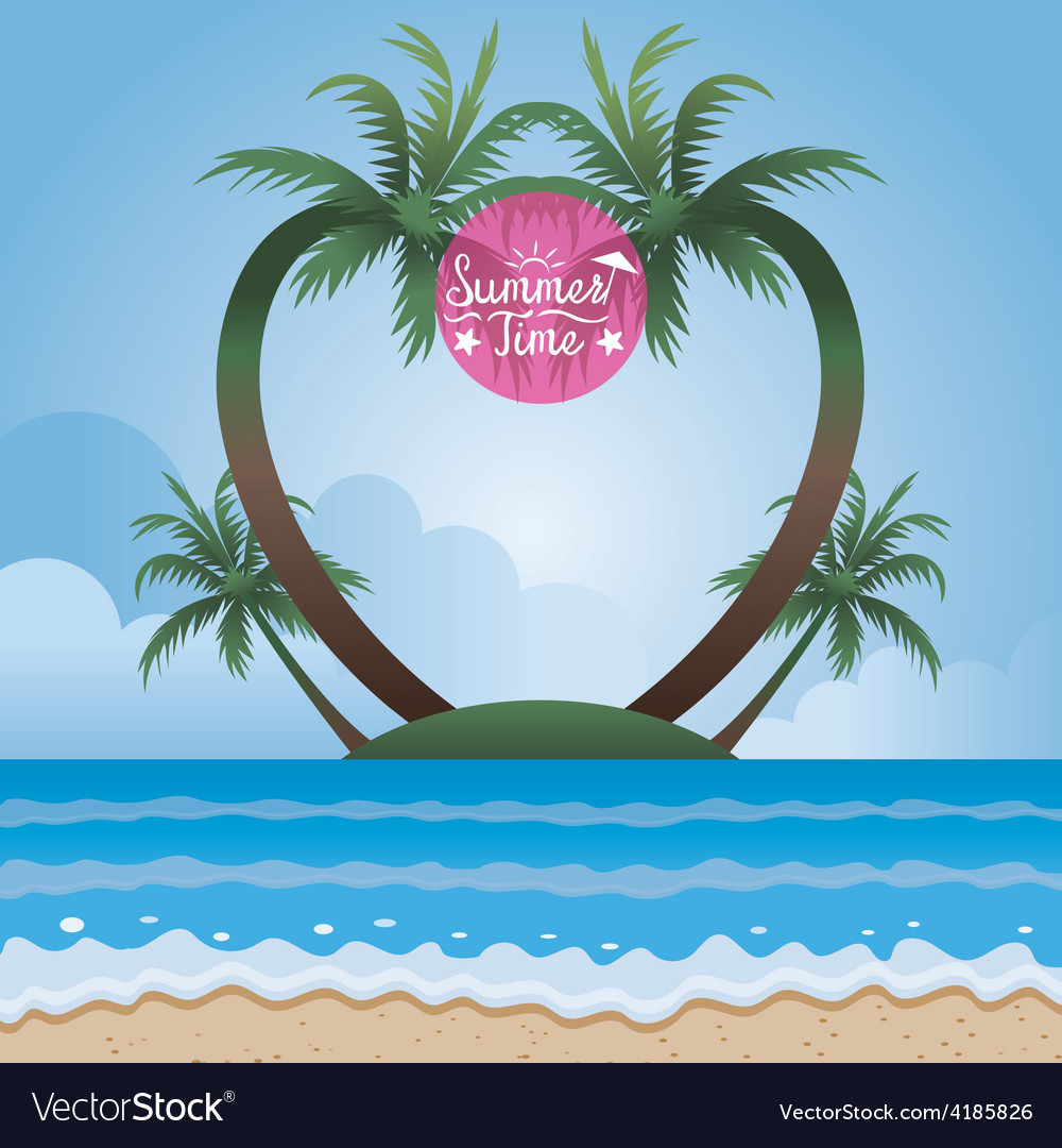 Summer sea and coconut palm tree on island frame vector | Price: 3 Credit (USD $3)