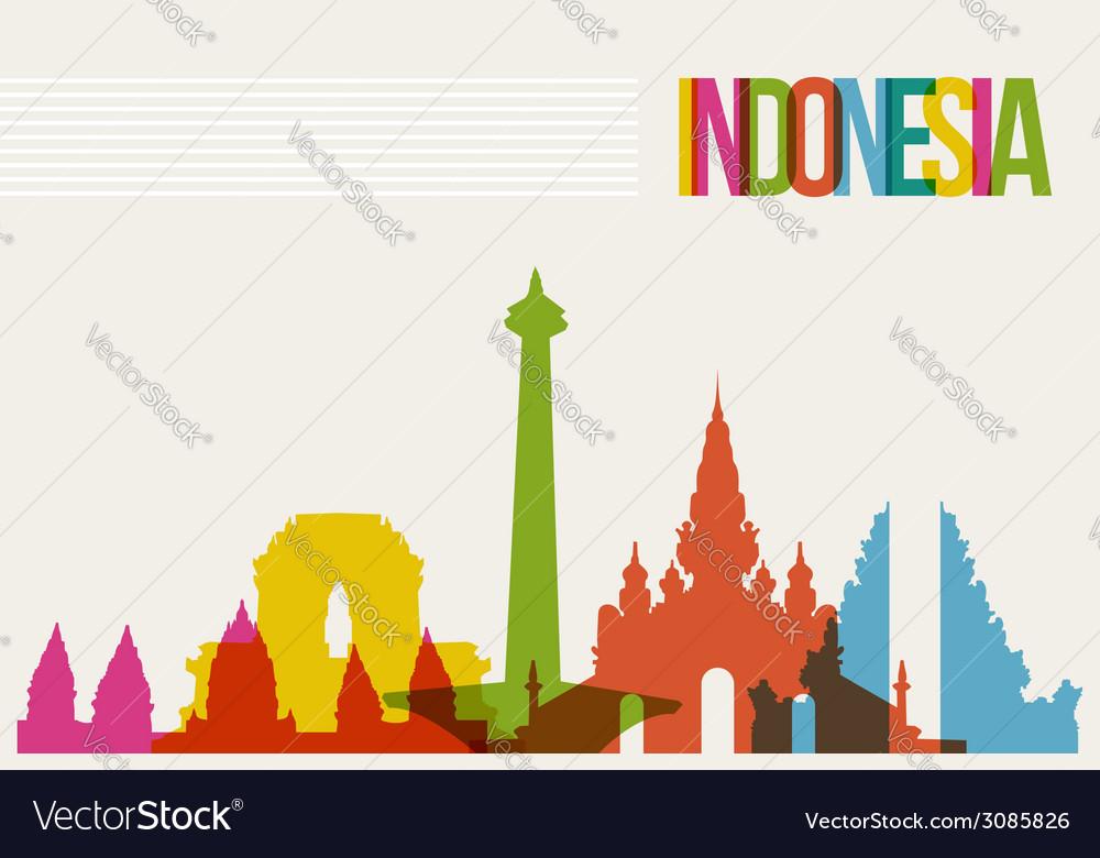 Travel indonesia destination landmarks skyline vector | Price: 1 Credit (USD $1)