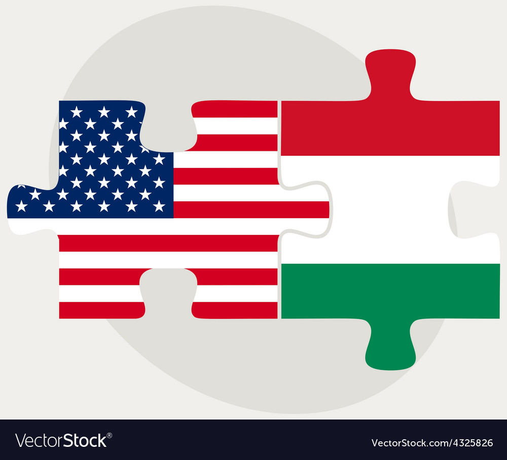 Usa and hungary flags in puzzle vector | Price: 1 Credit (USD $1)