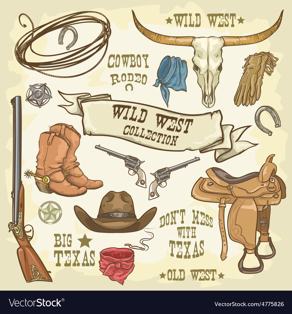 Wild west icons collection vector | Price: 3 Credit (USD $3)