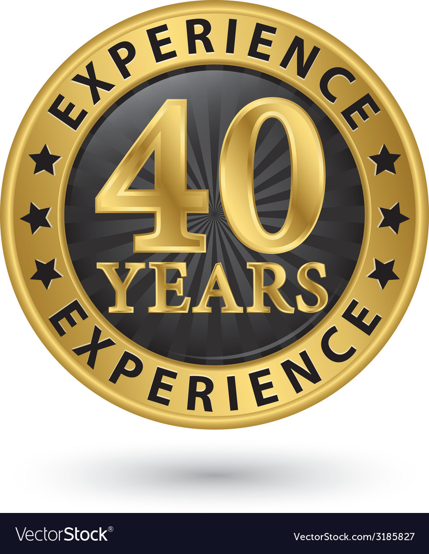 40 years experience gold label vector | Price: 1 Credit (USD $1)