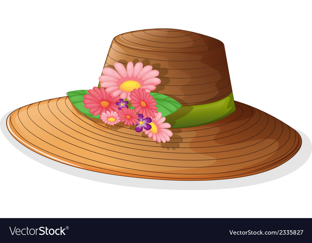 A brown hat with floral decor vector | Price: 1 Credit (USD $1)