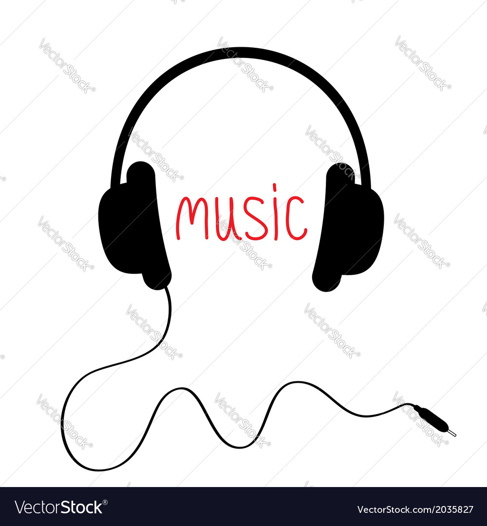 Black headphones with cord and red word music card vector | Price: 1 Credit (USD $1)
