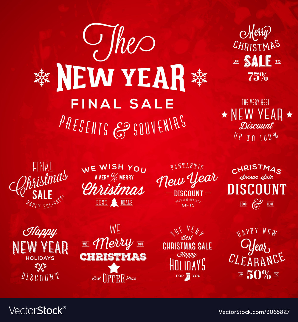 Christmas and new year vintage typography labels vector | Price: 1 Credit (USD $1)