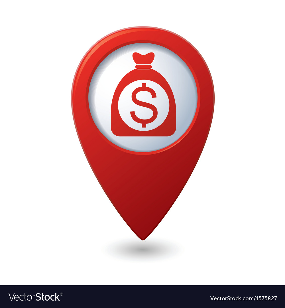 Dollar in bag icon red map pointer vector | Price: 1 Credit (USD $1)
