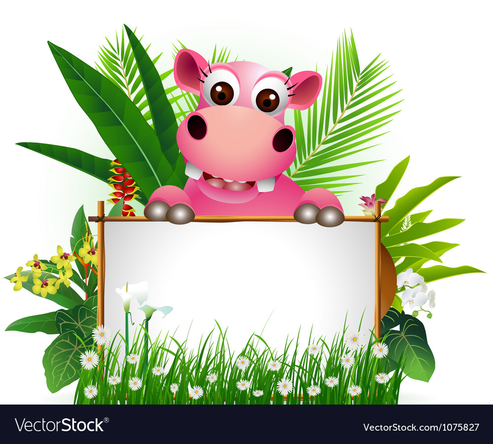 Funny hippo with blank sign vector   Price: 3 Credit (USD $3)