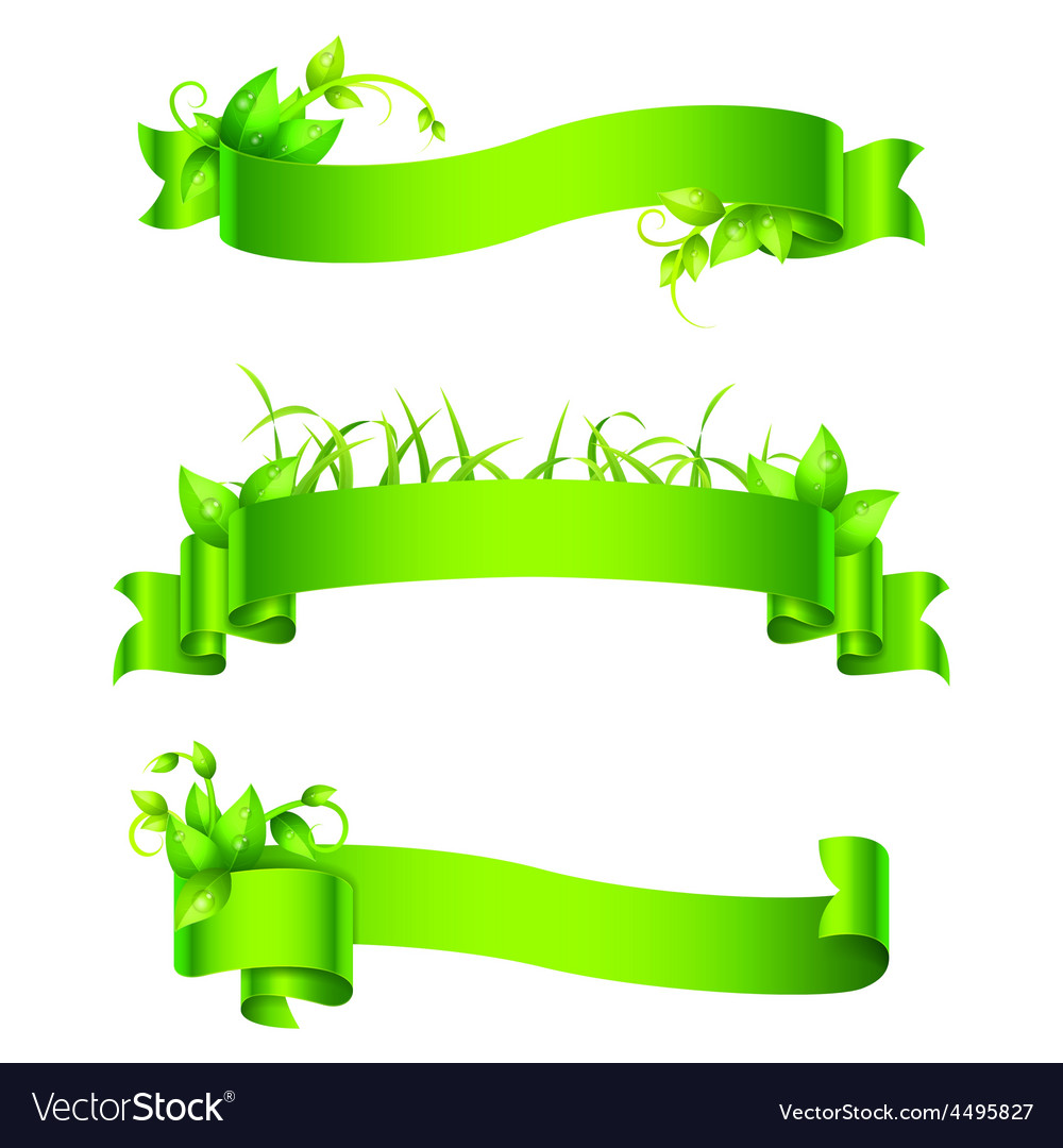 Green empty ribbons and banners vector | Price: 1 Credit (USD $1)