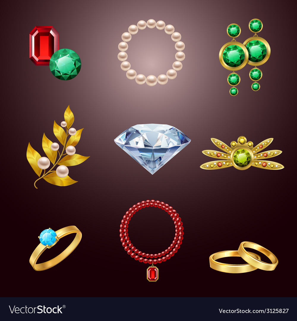 Jewelry realistic icons vector | Price: 1 Credit (USD $1)