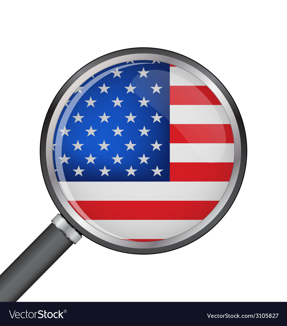 Magnifier with usa flag vector | Price: 1 Credit (USD $1)