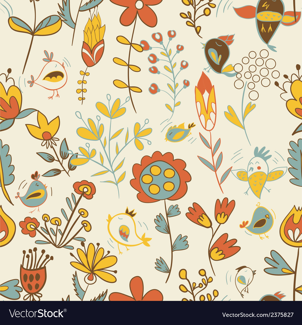 Seamless texture with flowers and birds vector   Price: 1 Credit (USD $1)