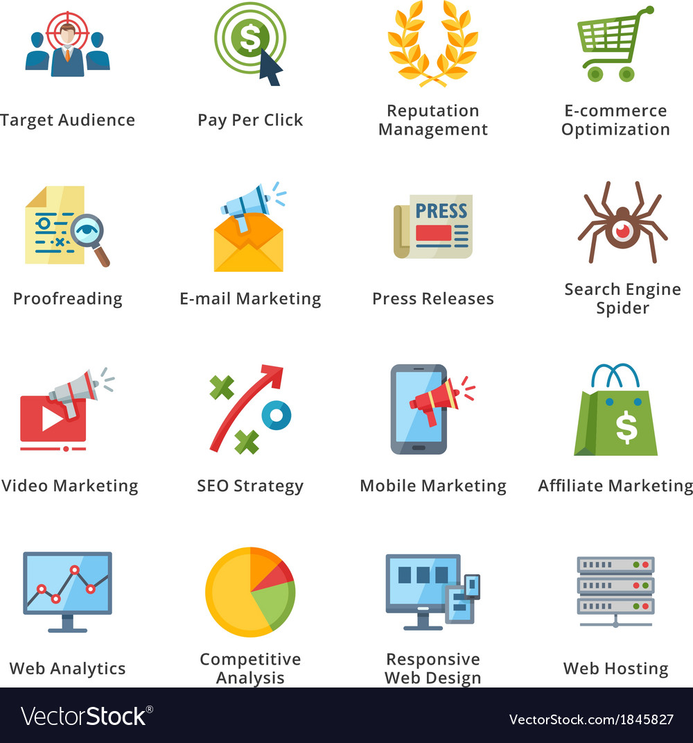 Seo and internet marketing flat icons - set 3 vector | Price: 1 Credit (USD $1)
