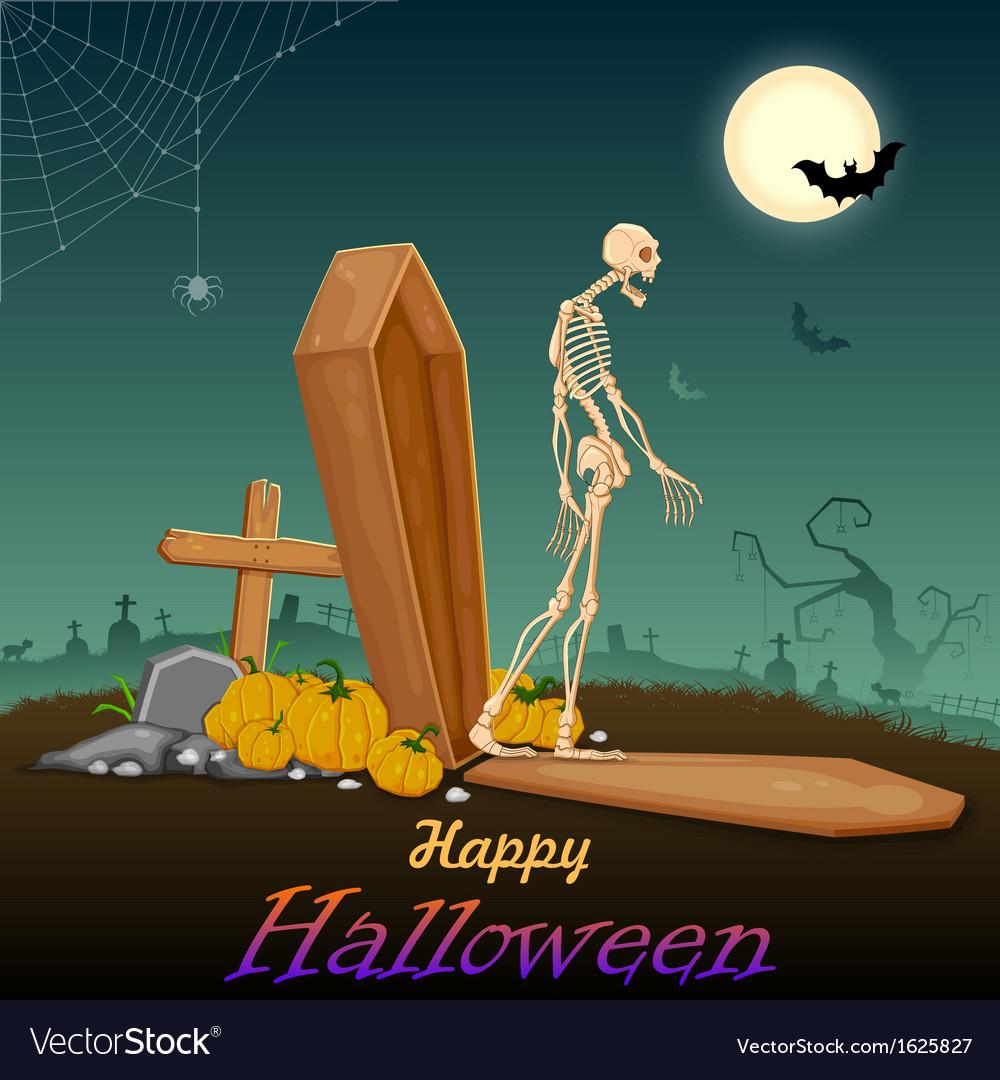 Skelton in halloween night vector | Price: 1 Credit (USD $1)