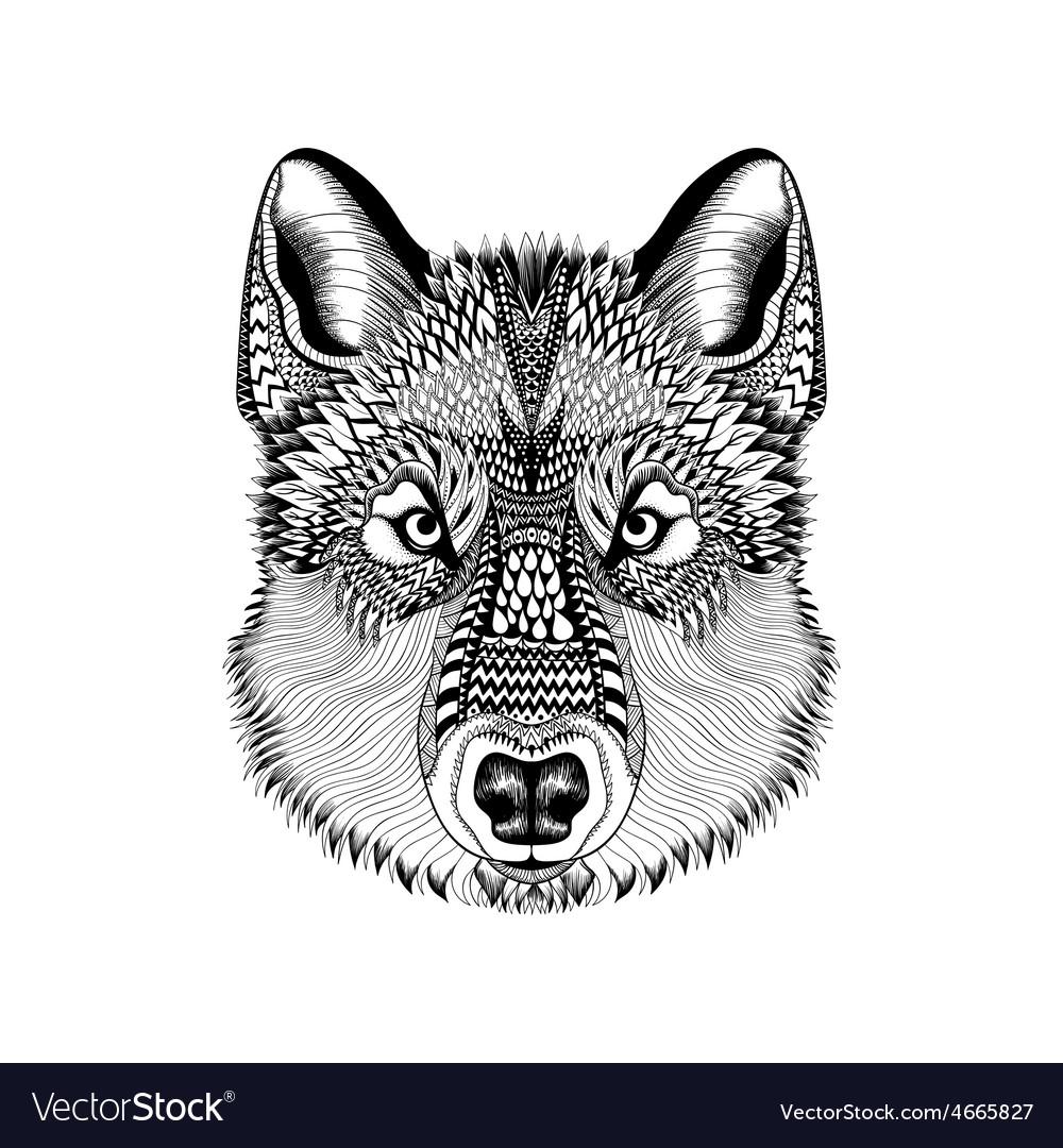 Zentangle stylized wolf face hand drawn guata vector