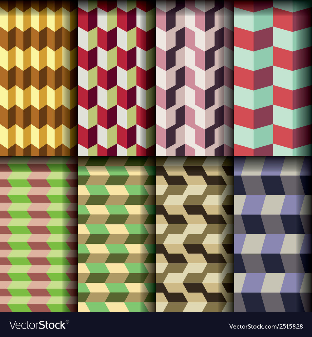 8 retro seamless patterns vector | Price: 1 Credit (USD $1)