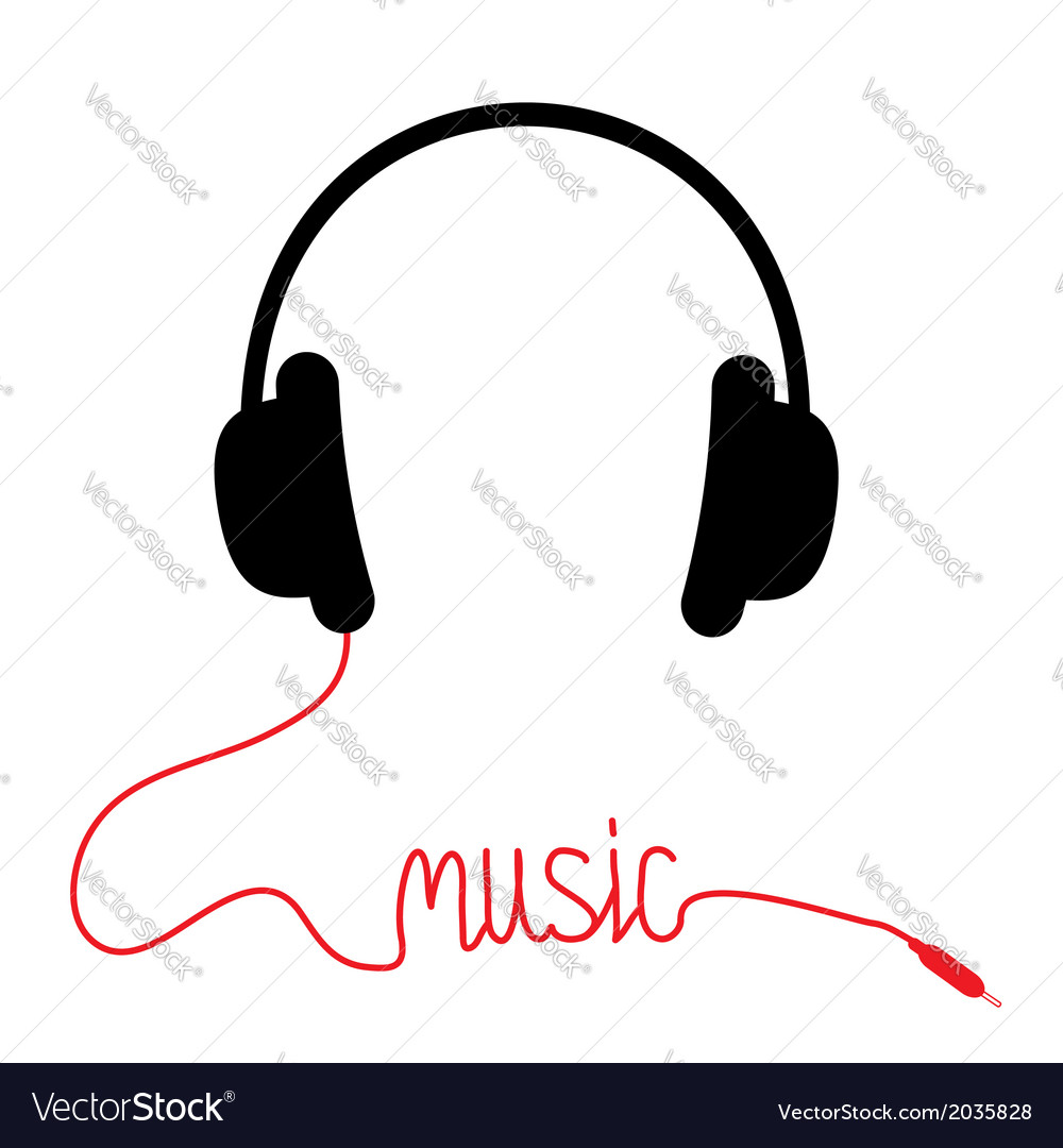 Black headphones with red cord word music vector | Price: 1 Credit (USD $1)