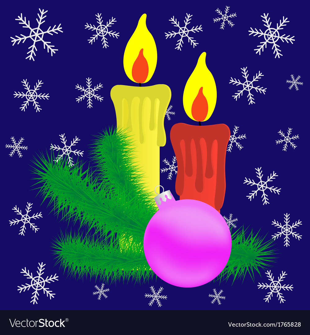 Candles and christmas branch vector | Price: 1 Credit (USD $1)