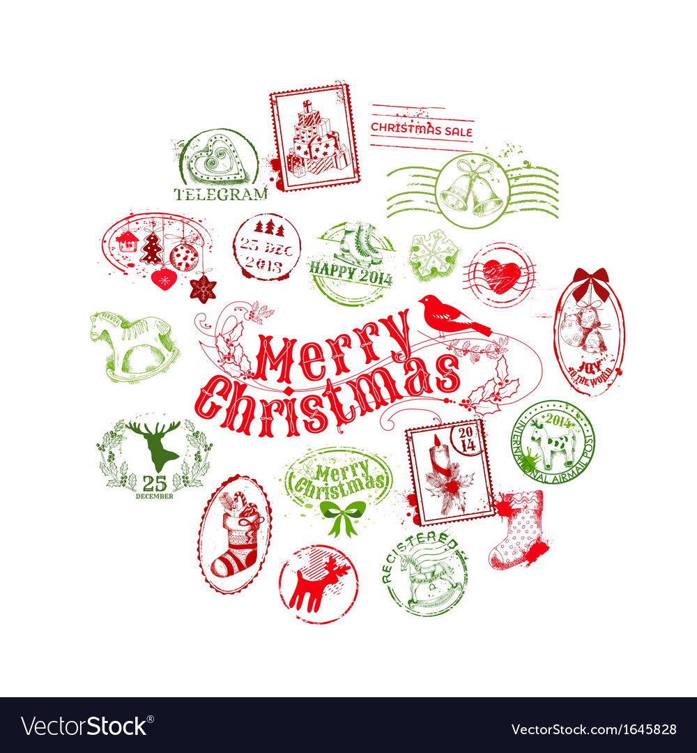 Christmas card with postage stamps vector | Price: 1 Credit (USD $1)