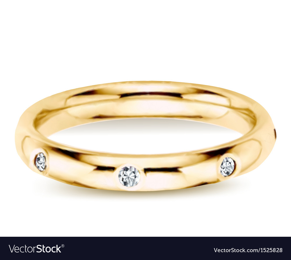 Golden ring with diamonds vector | Price: 1 Credit (USD $1)