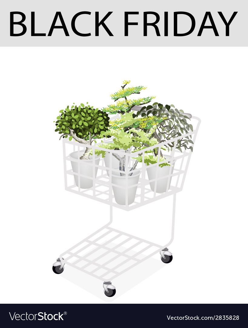 Green trees in black friday shopping cart vector | Price: 1 Credit (USD $1)