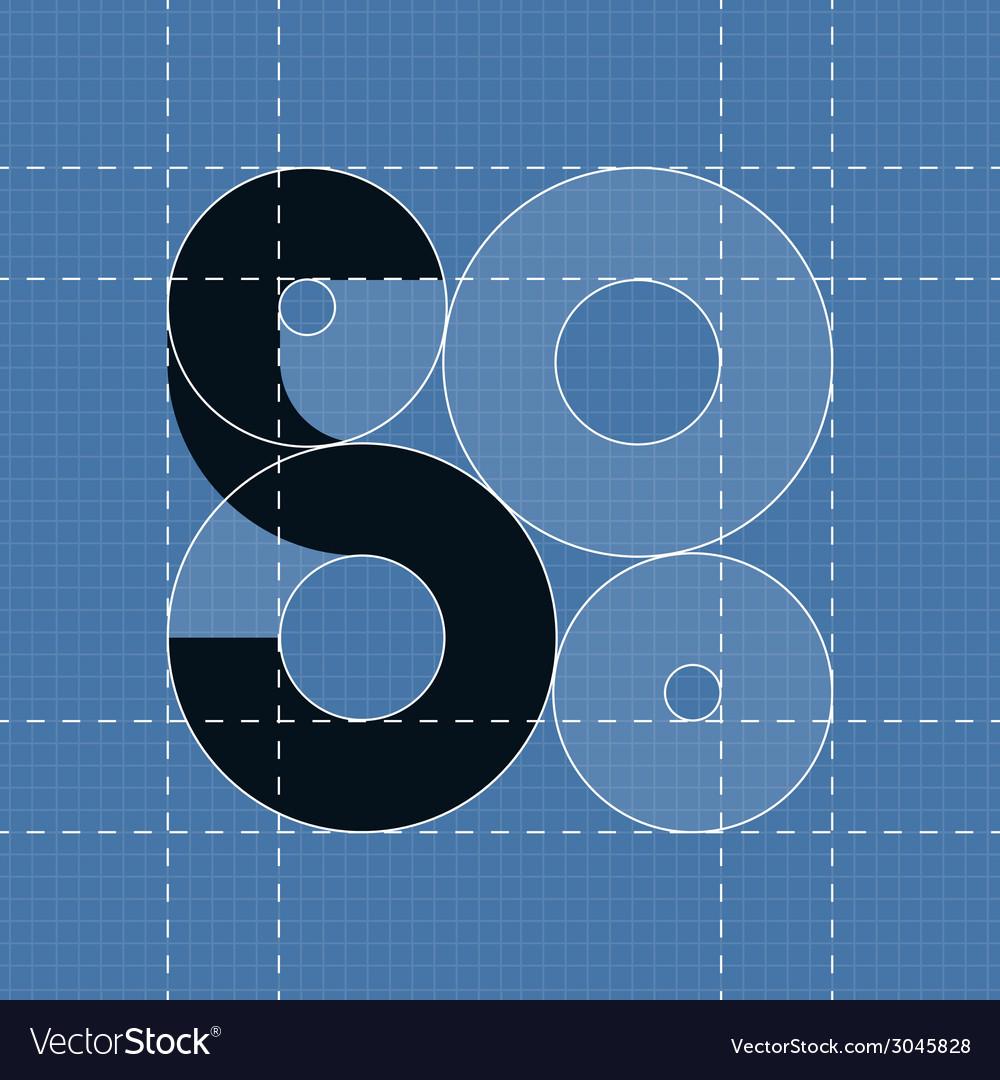 Round engineering font symbol 5 vector | Price: 1 Credit (USD $1)