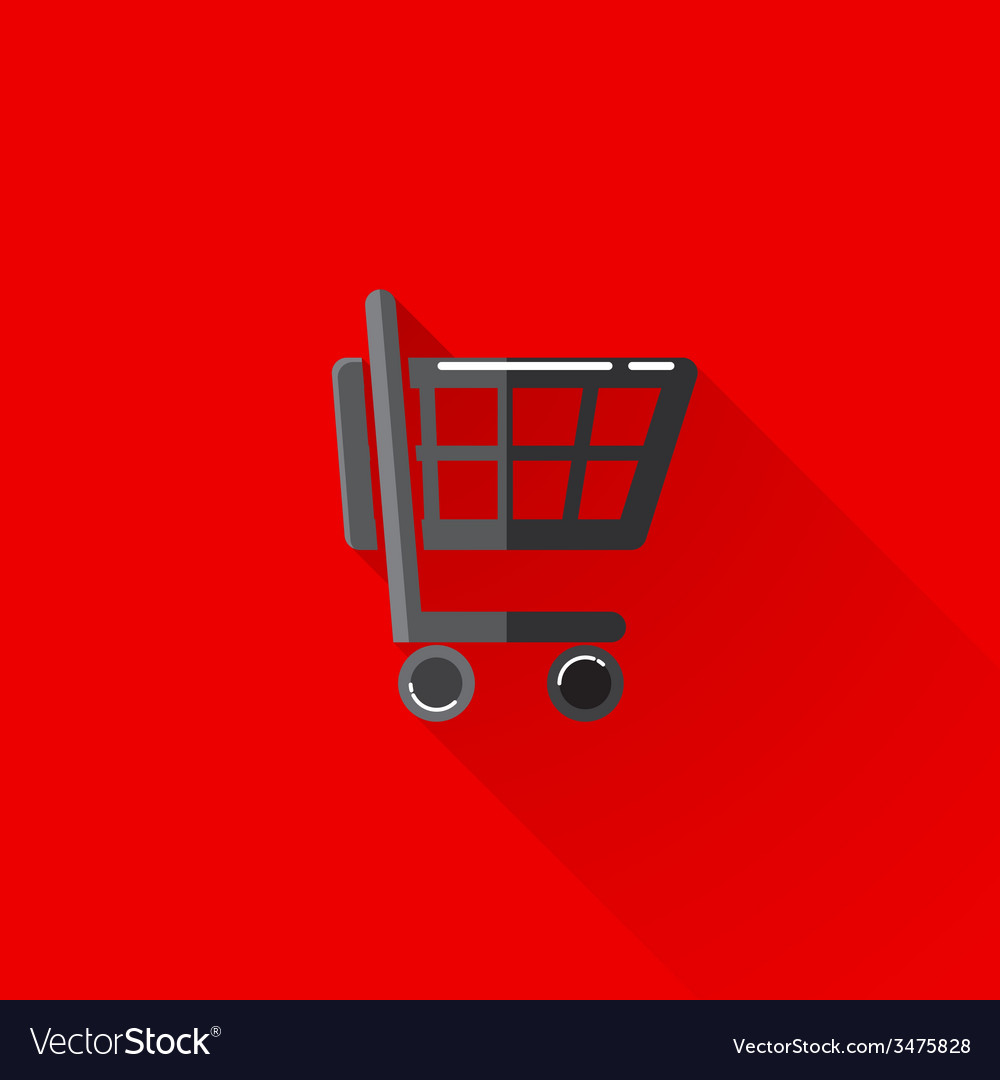 Vintage of a shopping cart in flat style with long vector | Price: 1 Credit (USD $1)