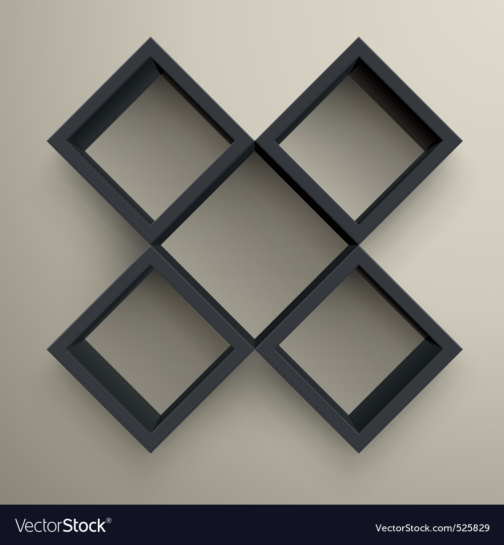 3d isolated empty black bookshelf vector | Price: 1 Credit (USD $1)
