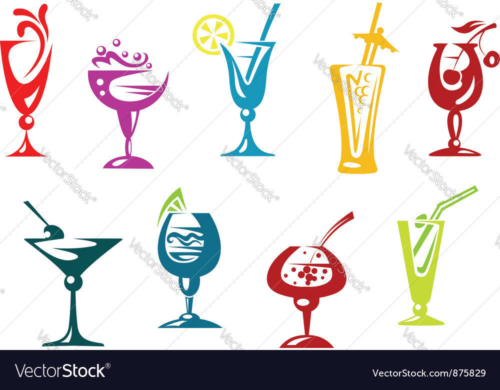 Alcohol and juice cocktails vector | Price: 1 Credit (USD $1)