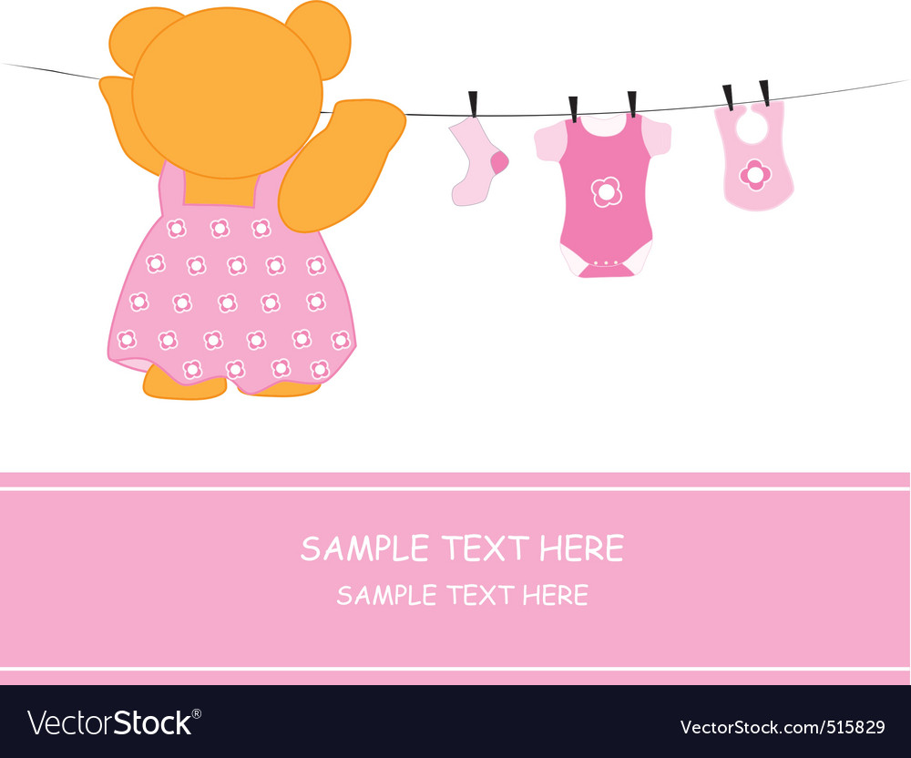 Bear hanging clothes vector | Price: 1 Credit (USD $1)